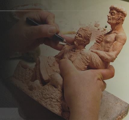 Modelling a rural couple in clay